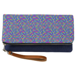 Fun sparkling blue small colorful dots clutch