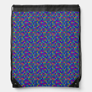Fun sparkling blue small colorful dots drawstring bag