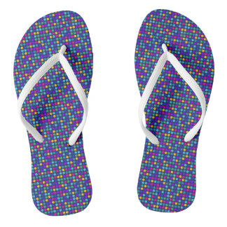 Fun sparkling blue small colorful dots flip flops