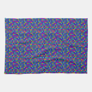 Fun sparkling blue small colorful dots kitchen towel