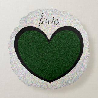 Fun Sparkly Dark Green Heart Design love Round Pillow