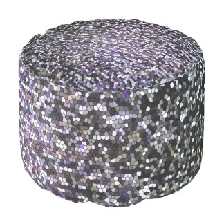 Fun Sparkly Faux Silver Glitter Mosaic Pattern Pouf