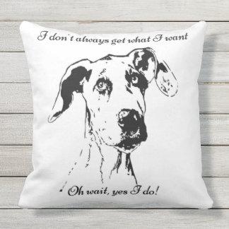 Fun Spoiled Great Dane Dog Pet Quote Throw Pillow