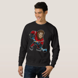 Fun Squatch Bigfoot Hockey Player Sweatshirt
