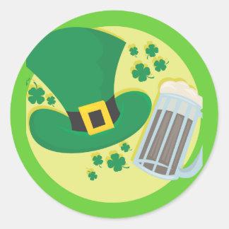 Fun St Patricks Day Beer Design Classic Round Sticker