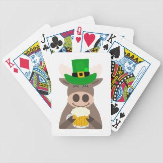 Fun St. Patrick's Day Moose Cartoon Bicycle Playing Cards