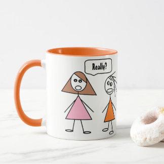 Fun Stick Figure Girlfriends Gossiping Design Mug