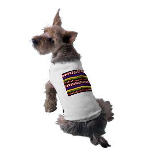 Fun Striped Ethnic Puppy Dog T-Shirt