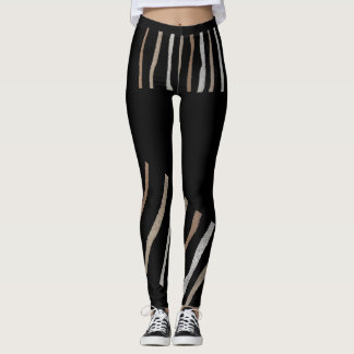 Fun Striped Leggings-Women-Black/White/Beige Leggings