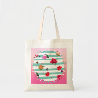 Fun stripes and florals tote bag
