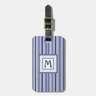 Fun Stripes Pattern in Shades of Blue Luggage Tag