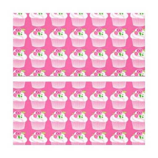 Fun Summer Birthday Hot Pink Cupcake Pattern Canvas Print