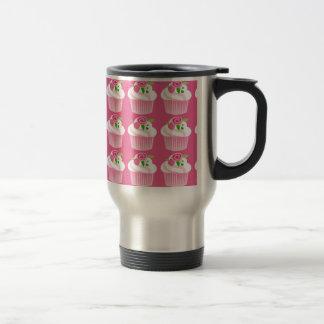 Fun Summer Birthday Hot Pink Cupcake Pattern Travel Mug