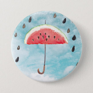 Fun Summer Fresh Melon Fruit Rain 3 Inch Round Button