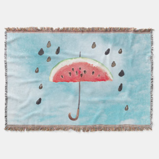 Fun Summer Fresh Melon Fruit Rain Throw Blanket