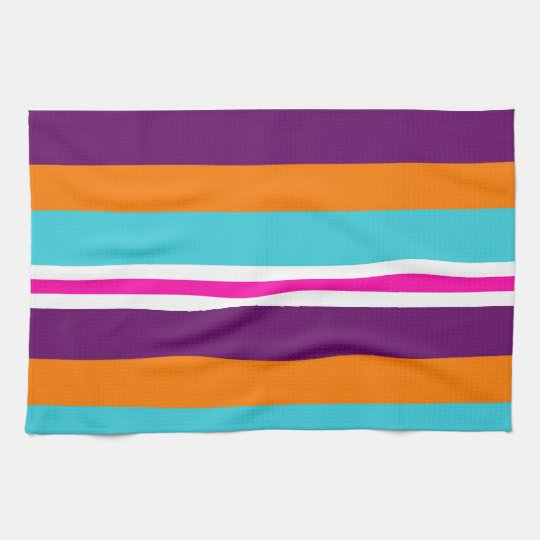 Fun Summer Pink Teal Orange Purple Striped Pattern Kitchen Towel