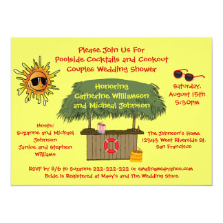 Fun Summer Tiki Hut Cookout Couples Bridal Shower Card