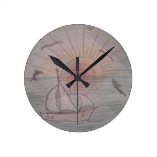Fun sun blue round clock