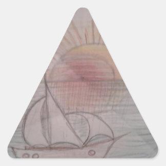Fun sun blue triangle sticker