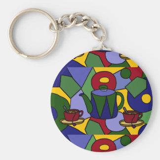 Fun Tea Abstract Art Design Keychain