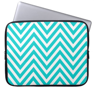 FUN TEAL BLUE CHEVRON PATTERN LAPTOP SLEEVE