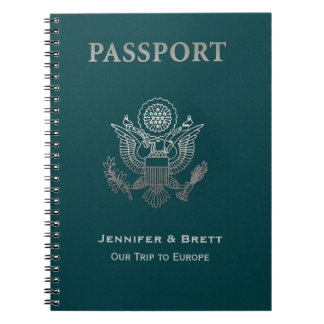 Fun Teal Passport Custom Notebook