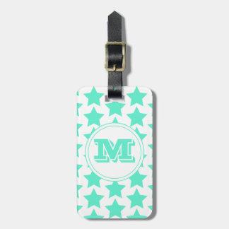 Fun Teal Stars Pattern Monogram Luggage Tag
