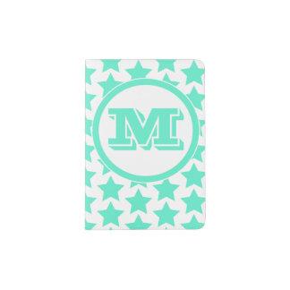 Fun Teal Stars Pattern Monogram Passport Holder