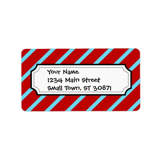 Fun Teal Turquoise Red Diagonal Stripes Gifts Label