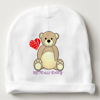 Fun Teddy Bear Netball Themed Design Baby Beanie