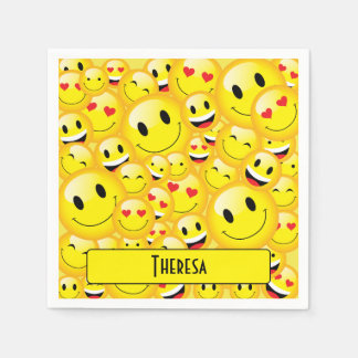 Fun Teenager Yellow Smiley Faces Emoji Party Disposable Napkin
