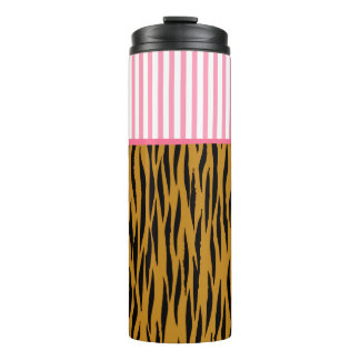 Fun Tiger Print & Pink Stripes Thermal Tumbler