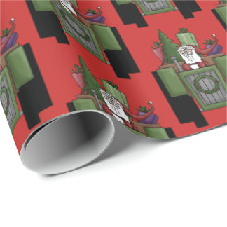 Fun Tiled Christmas Tractor driving party wrap Wrapping Paper