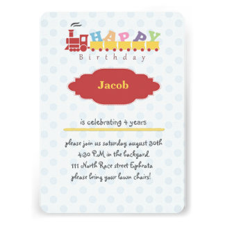 Fun Train Birthday Card Invitation for Toddlers