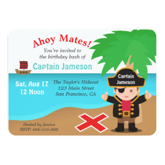 Fun Treasure, Pirate Theme Birthday Party 4.5x6.25 Paper Invitation Card