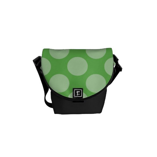 Fun Trendy Green Polka Dots Pattern on Green Messenger Bag