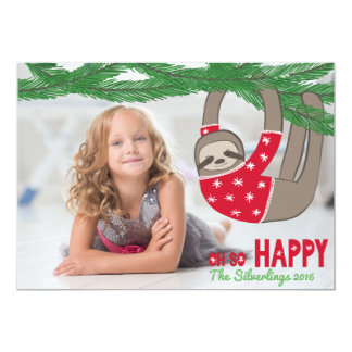 Fun Trendy Sloth Christmas Photo Personalized Card