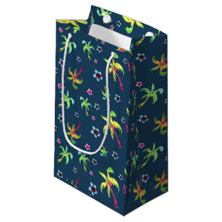 Fun tropical palm trees and frangipanis small gift bag