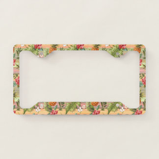 Fun Tropical Pineapple Fruit Floral Stripe Pattern License Plate Frame