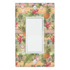Fun Tropical Pineapple Fruit Floral Stripe Pattern Light Switch Cover