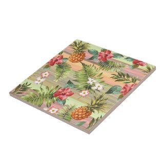 Fun Tropical Pineapple Fruit Floral Stripe Pattern Tile