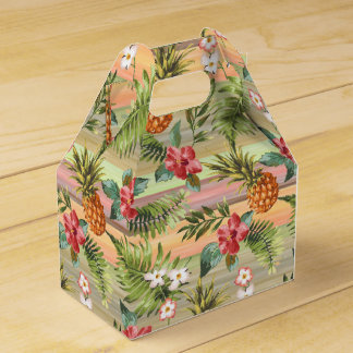 Fun Tropical Pineapple Fruit Floral Stripe Pattern Wedding Favor Box