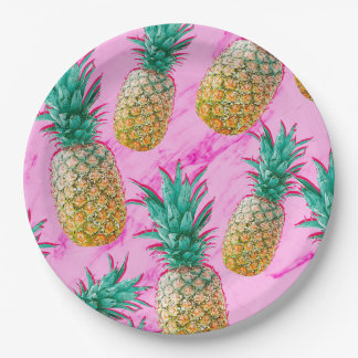 Fun Tropical Pineapples & Pink Marble Chic Party Paper Plate