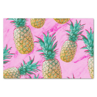 Fun Tropical Pineapples & Pink Marble Chic Party Tissue Paper