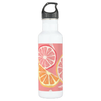 Fun Tropical Pink grapefruit and lemon pattern 710 Ml Water Bottle