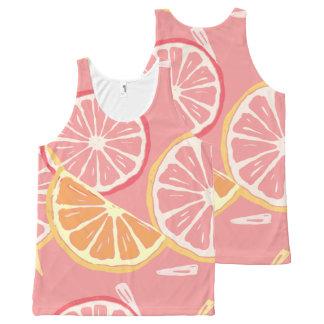 Fun Tropical Pink grapefruit and lemon pattern All-Over-Print Tank Top