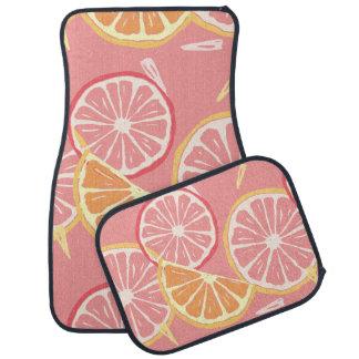 Fun Tropical Pink grapefruit and lemon pattern Car Mat
