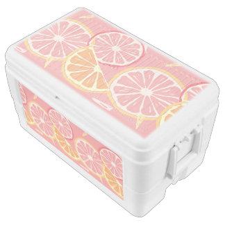 Fun Tropical Pink grapefruit and lemon pattern Chest Cooler