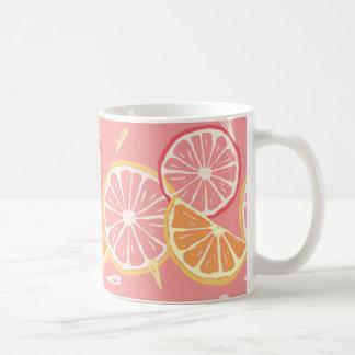 Fun Tropical Pink grapefruit and lemon pattern Coffee Mug