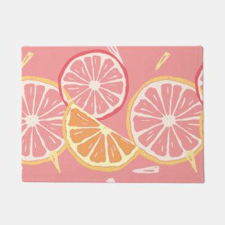 Fun Tropical Pink grapefruit and lemon pattern Doormat